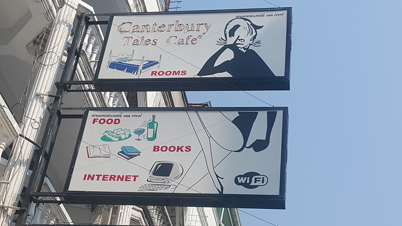 Canterbury Tales Bookshop, Guest house and cafe Sign.