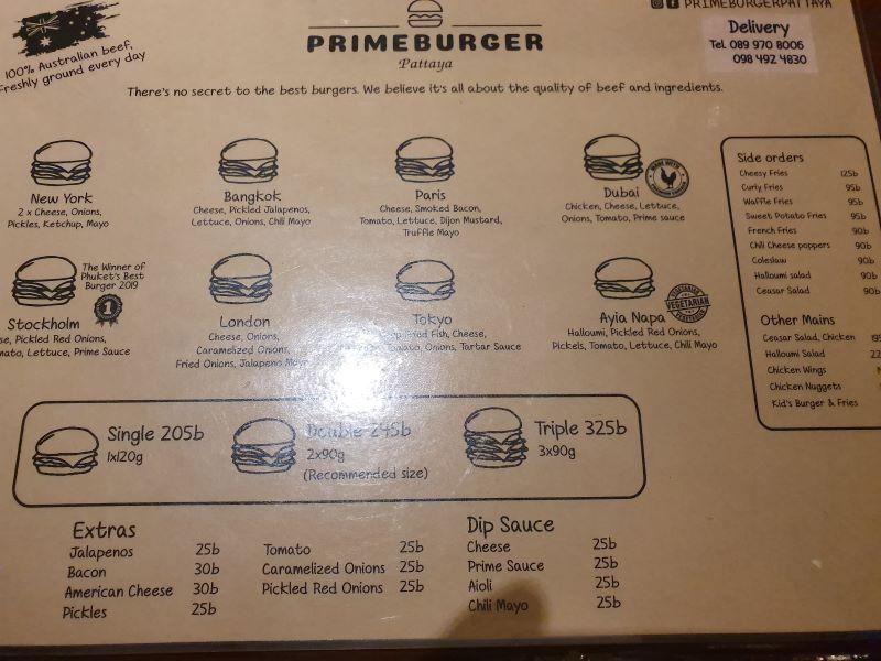 PrimeBurger Menu